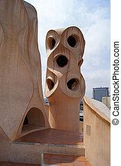 Casa Mila - Abstract chimey of Casa Mila (La Pedrera) in...