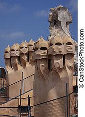 Casa Mila - Abstract chimey of Casa Mila La Pedrera in...