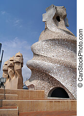 Casa Mila - Abstract chimey of Casa Mila La Pedrera in...