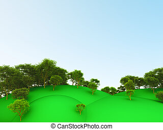 summer landscape with green trees on hills on a background of the blue sky