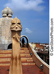 Casa Mila - Abstract chimey of Casa Mila (La Pedrera) in...