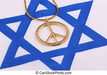 peace sign - A peace sign on israel flag