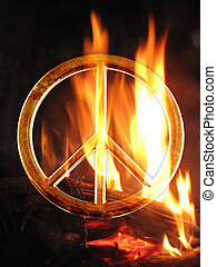 peace sign - A peace sign in fire flames