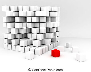 one red and many white cubes on a white background