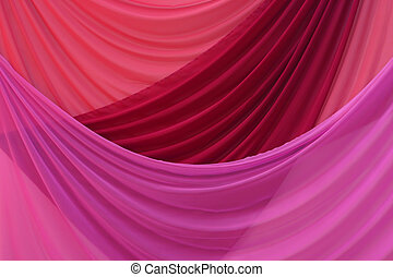 Red and purple curtains in an assembly hall on solemn action