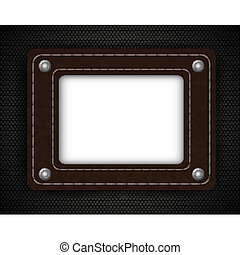 leather element on metal background with place for your text. Vector illustration