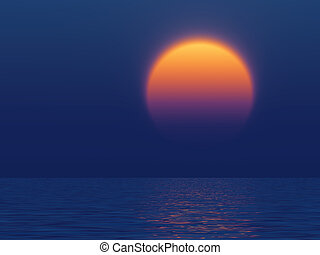 sunset with the large yellow sun reflected in water of ocean