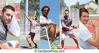 Collage of young men playing tennis