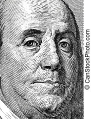 Franklin portrait. - Extreme close-up of one hundred bill...