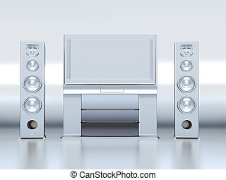 Modern home theatre with the plasma TV and floor acoustics