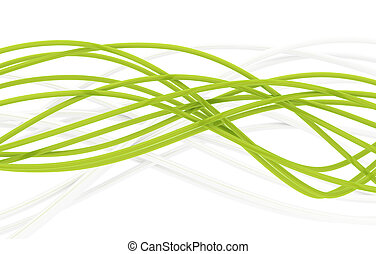 fibre-optical green and metal silvered cables on a white...