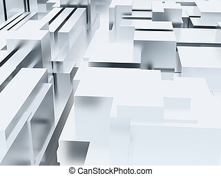 Abstract metal cubic surface of white-blue color