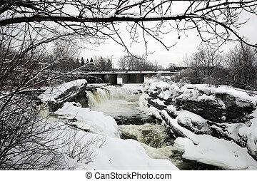 Hogs Back Falls in Ottawa, Canada in Winter - Hogs Back...