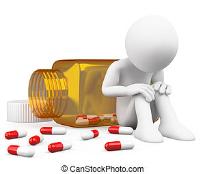3D depressed man taking pills. Rendered at high resolution...