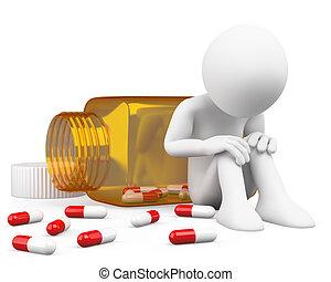 3D, deprimido, hombre, toma, píldoras