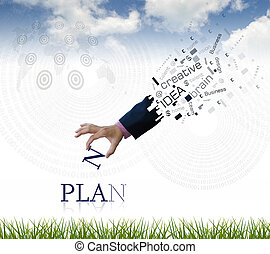 Business wording - art work of business hand with the plan...