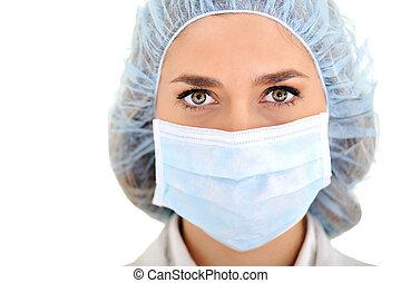 hembra, doctor, Llevando, quirúrgico, gorra,...