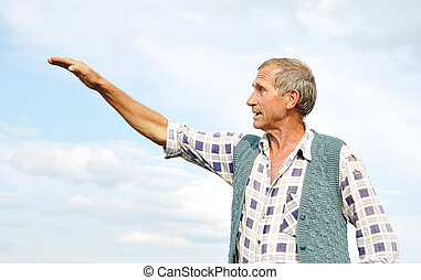 Senior male person making gestures