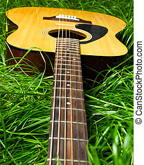 Acoustic guitar in green grass