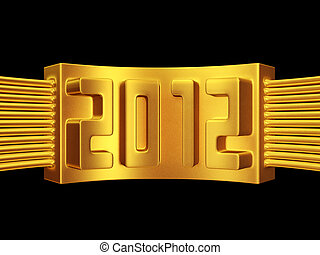 Year 2012 gold label isolated