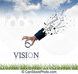 Business wording - art work of business hand with the vision...