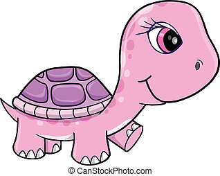 Cute Pink Girl Turtle Vector