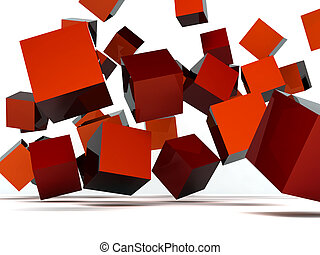 Falling and hitting red cubes on a white background