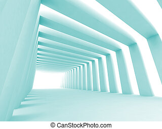 Turn of the shined corridor with blue columns and light...