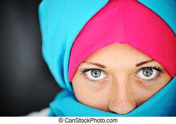mode, bleu, rose, Hijab
