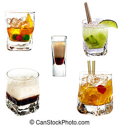 Cocktail collection - Set of different alcoholic cocktails...