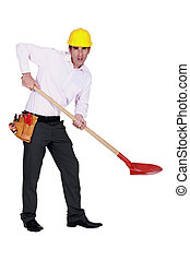 Protesting engineer using a spade
