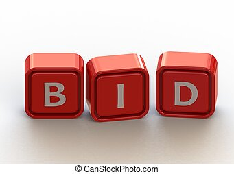 Cubes: bid - Render artwork with white background