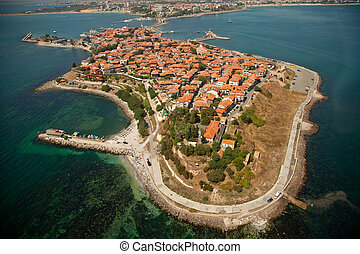 Old Nessebar, aerial view - Old Nessebar city, Bulgaria,...