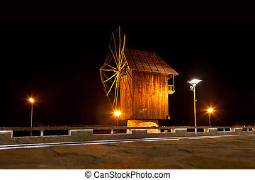 Old Nessebar, night view - Black Mill in Old Nessebar, night...