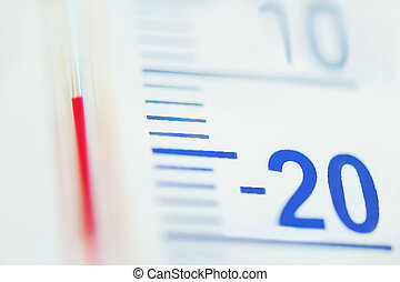 Thermometer minus degree temperature in cold winter