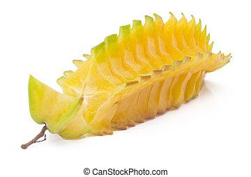 Cut Starfruit, carambola isolated on white - Cut Starfruit,...