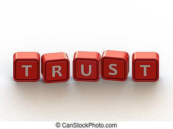 Cubes: trust - Render artwork with white background