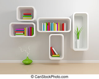 White bookshelf with a white and green books against beige...