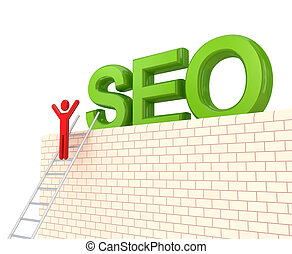 Word SEO on a big wall and 3d small person on a stairs....