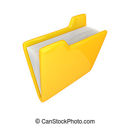 Yellow folder icon 3d rendered Isolated on white background...