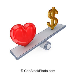 Red heart and dollar sign on simple scales.. - Red heart and...