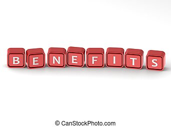 Cubes: benefits - Render artwork with white background.