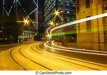 Traffic through downtown of Hong Kong at night