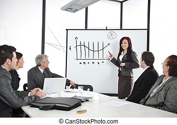 Businesswoman drawing a diagram during the presentation at office