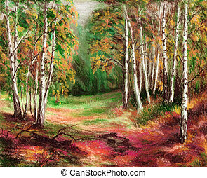 Picture, autumn forest - Picture, landscape, autumn forest...