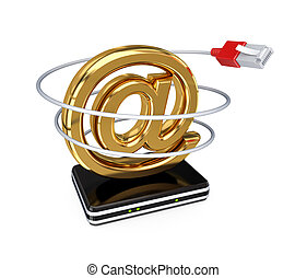 Email sign, router and patchcord. 3d rendered. Isolated on...