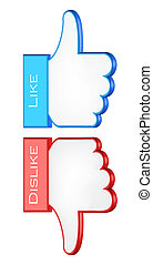like and dislike symbols 3d vector illustration