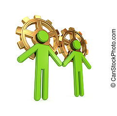 3d small people merged with golden gearsTeamwork...