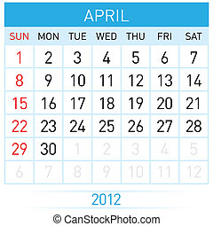 April Calendar Illustration on white background for design
