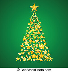 Abstract Christmas tree from the stars. Illustration on...